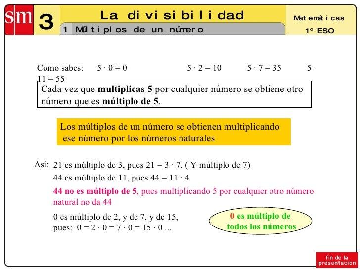 3 La divisibilidad 1 Matemáticas 1º ESO Múltiplos de un número Los múltiplos de un número se obtienen multiplicando ese nú...