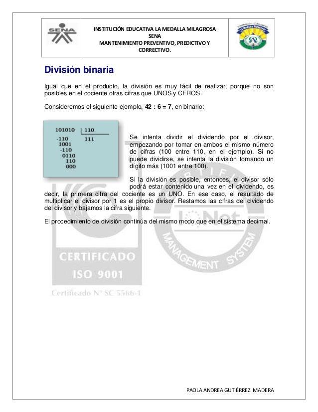 INSTITUCIÓN EDUCATIVA LA MEDALLA MILAGROSA SENA MANTENIMIENTO PREVENTIVO, PREDICTIVO Y CORRECTIVO. PAOLA ANDREA GUTIÉRREZ ...