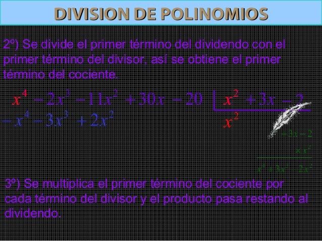 DIVISION DE POLINOMIOSDIVISION DE POLINOMIOS32x−4x 211x− x30+ 20− 2x x3+ 2−4º) Se suman algebraicamente.5º) Se divide el p...