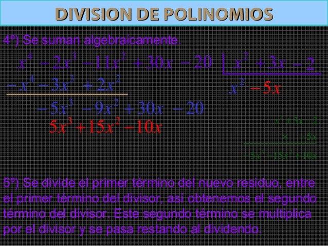 DIVISION DE POLINOMIOSDIVISION DE POLINOMIOS6º) Se repite el procedimiento hasta que el grado delpolinomio resto sea menor...