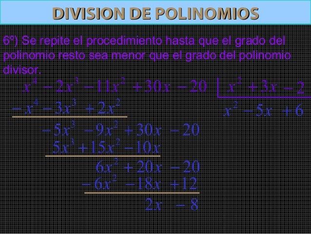 Operaciones con polinomiosOperaciones con polinomios32x−4x 211x− x30+ 20− 2x x3+ 2−2x x5− 6+82 −xPolinomio dividendo=)(xD3...