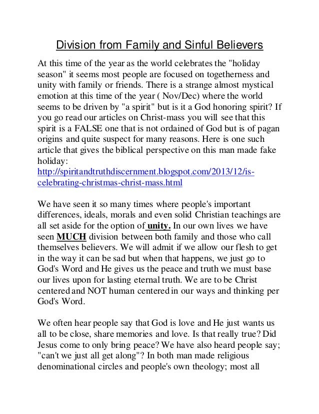 """Division from Family and Sinful Believers  At this time of the year as the world celebrates the """"holiday  season"""" it seems..."""