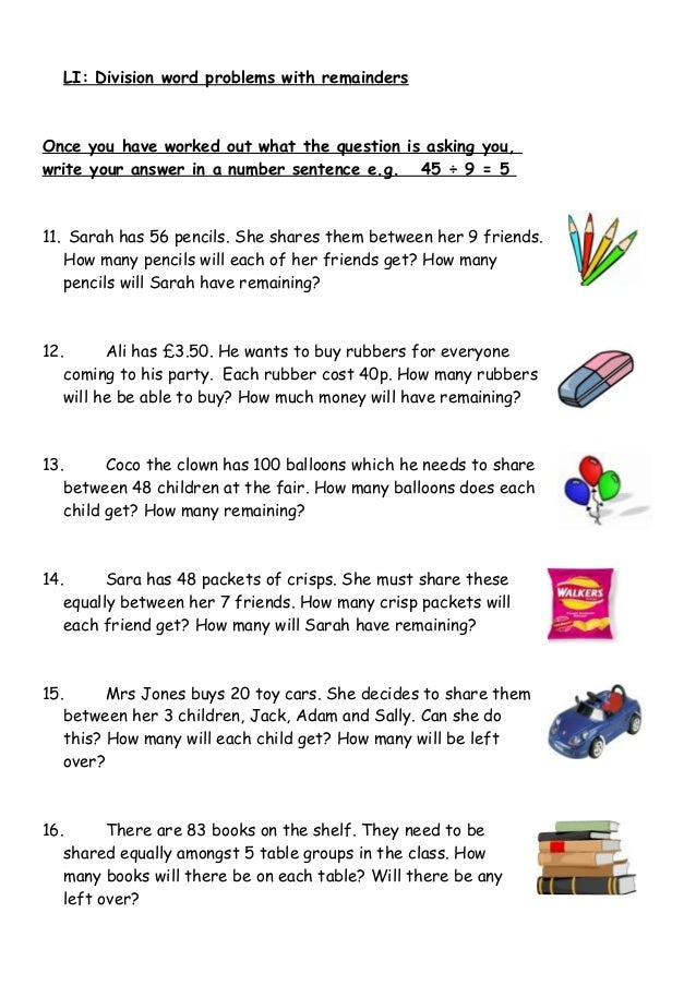 {Word Problems With Remainders Scalien – Division Word Problems with Remainders Worksheets