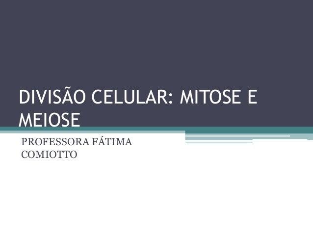 DIVISÃO CELULAR: MITOSE E MEIOSE PROFESSORA FÁTIMA COMIOTTO