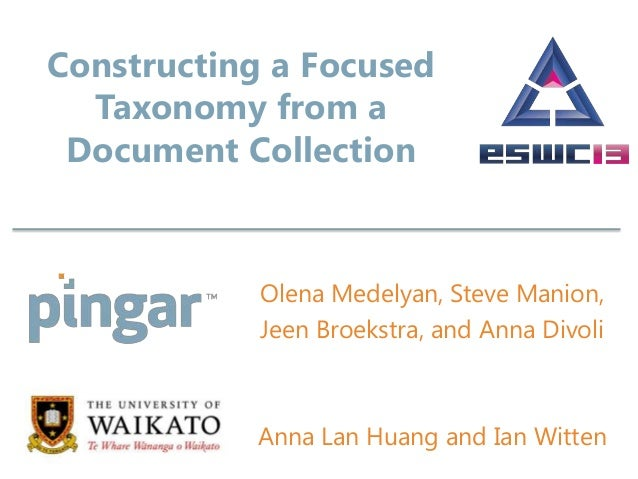 Constructing a FocusedTaxonomy from aDocument CollectionOlena Medelyan, Steve Manion,Jeen Broekstra, and Anna DivoliAnna L...