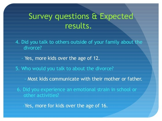Divorce survey results