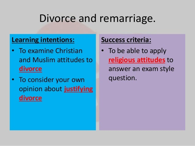 the issue of divorce and remarriage Have you ever wondered about the divorce-remarriage issue perhaps you have already had to face it in your own assembly and have come to a position on the matter.
