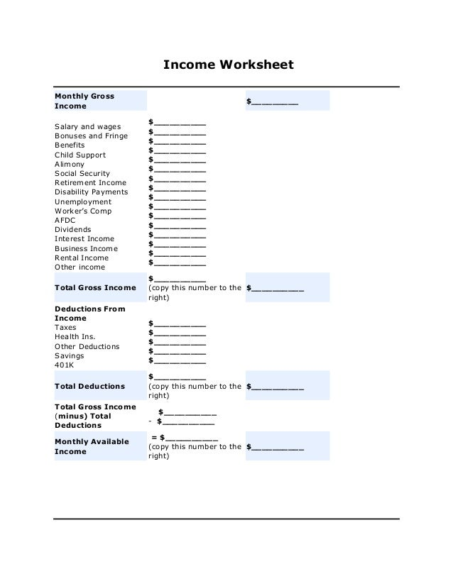 Divorce Finance Worksheet