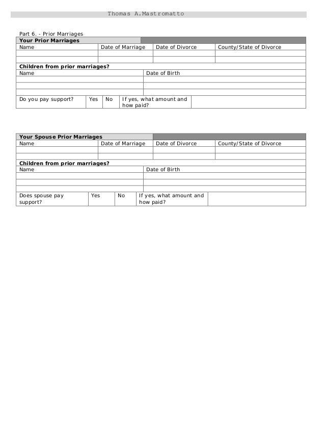 Divorce information and worksheet – Equitable Distribution Worksheet