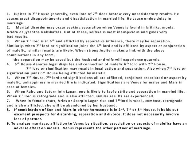 Divorce or separation in married life as per astrology