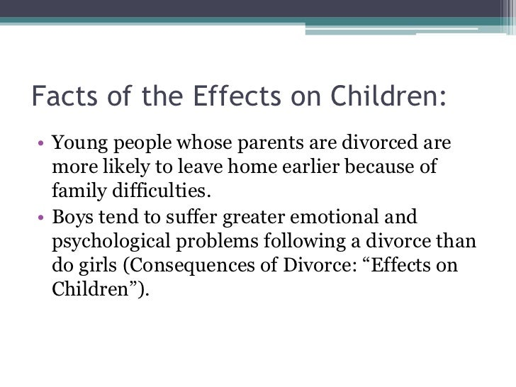 effects of a divorce on children Since the children in a divorce vary (different temperaments, different ages), the effects of divorce on children vary, too familymeans understands this and approaches a divorce by understanding what the effects are on children of all dispositions.