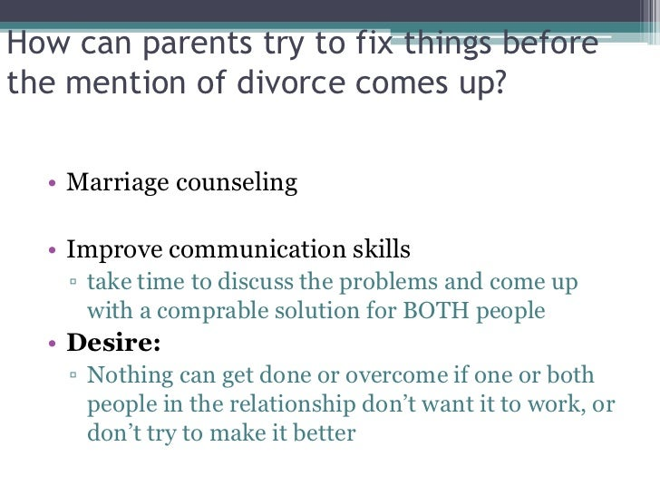Divorce problem solution essay