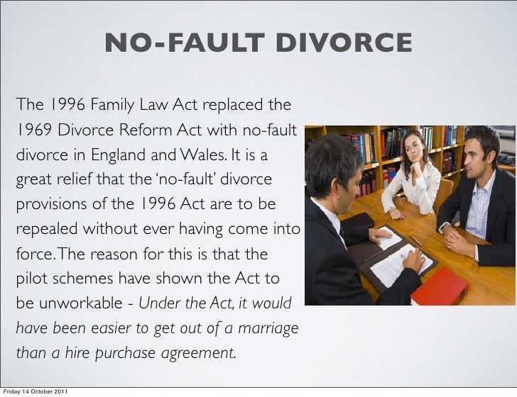divorce reform act He asserted that it was 'a safe prediction that divorce reform will take a long, long time' but in fact, little more than a decade later, the divorce reform act swept the concept of the indissoluble marriage into history.