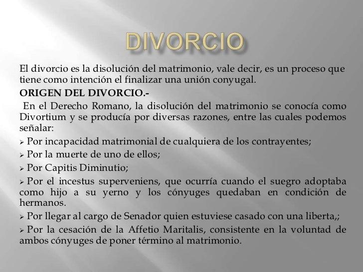 Derecho Romano Matrimonio Sine Connubio : Divorcio