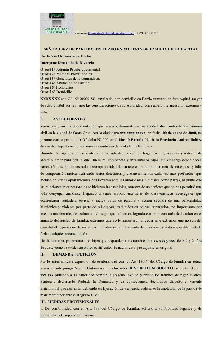 contactos fbarrientos@abogadossantacruz.org tel 591-3-3241835     SEÑOR JUEZ DE PARTIDO EN TURNO EN MATERIA DE FAMILIA DE ...