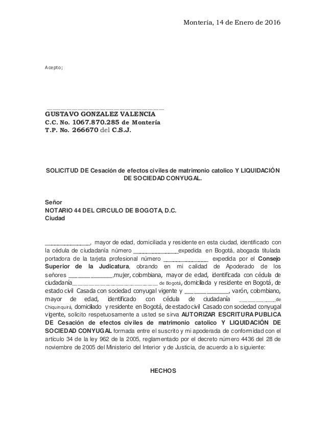 Registro De Matrimonio Catolico En Notaria : Divorcio de matrimonio civil jairo carmelo