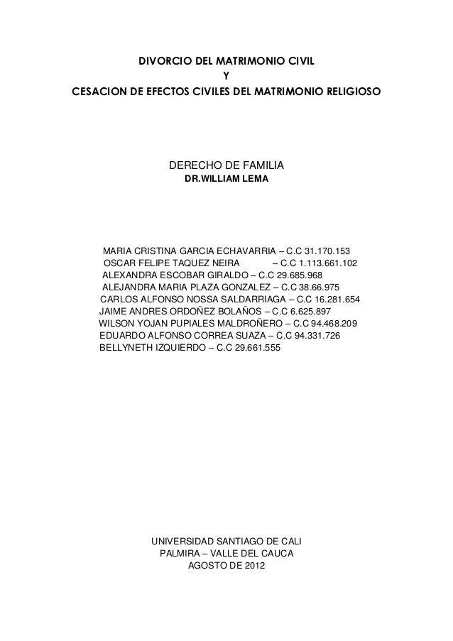 Divorcio y cesacion de efectos civiles en el matrimonio for Tramites matrimonio civil