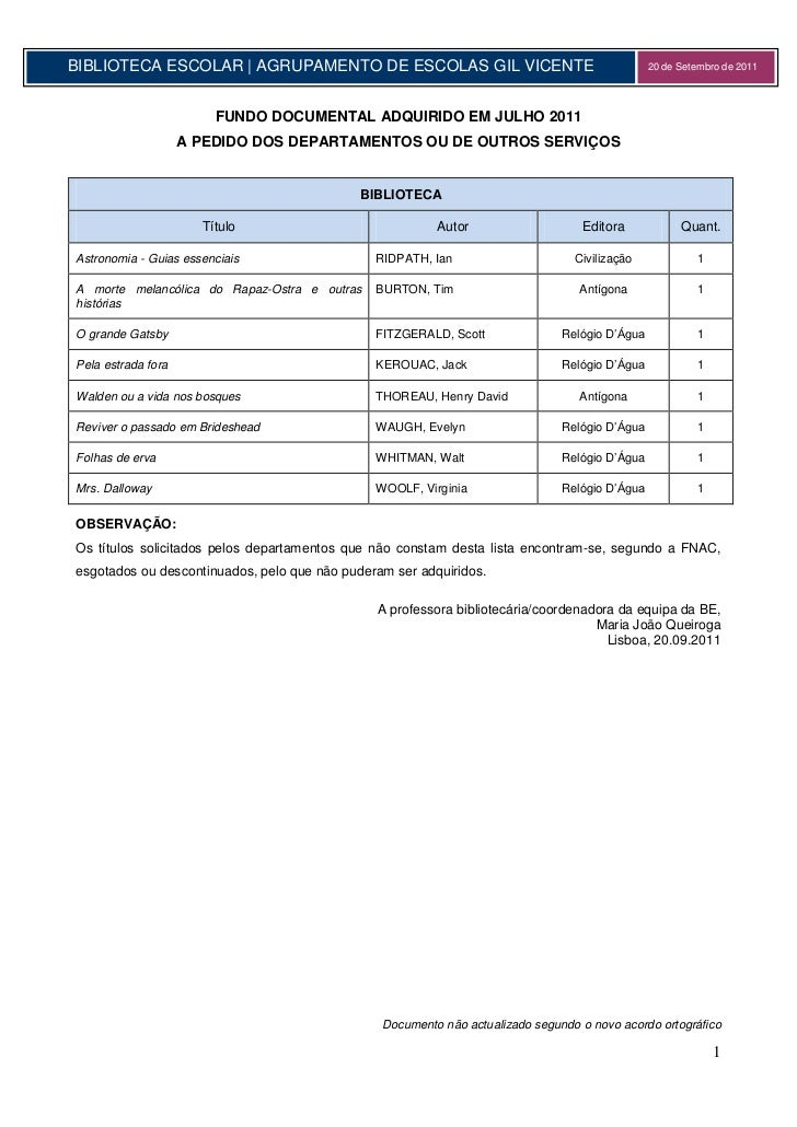BIBLIOTECA ESCOLAR | AGRUPAMENTO DE ESCOLAS GIL VICENTE                                         20 de Setembro de 2011    ...