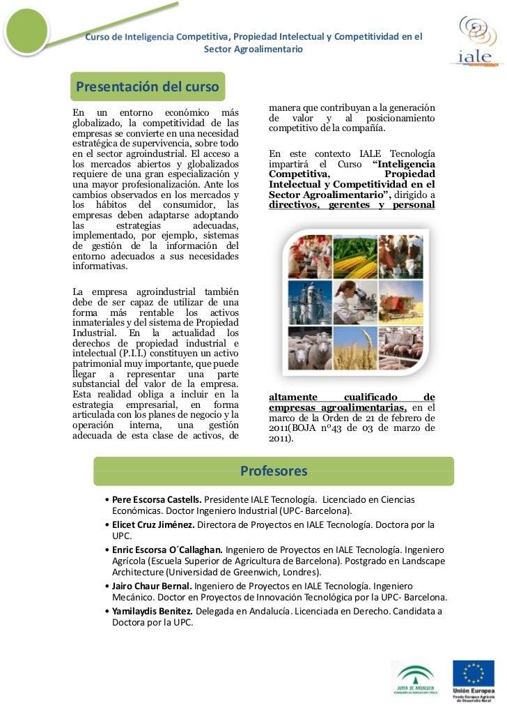 Curso de Inteligencia Competitiva, Propiedad Intelectual y Competitividad en el                              Sector Agroal...