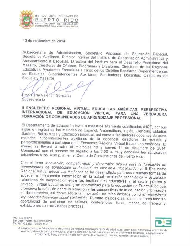 ESTADO LIBRE ASOCIADO DE   PUERTO RICO  ' .  1 DEPARTAMENTO DE EDUCACION SDRSECRETAFUA PARA ASUNTOS ACADEI/ xcfls  13 de no...