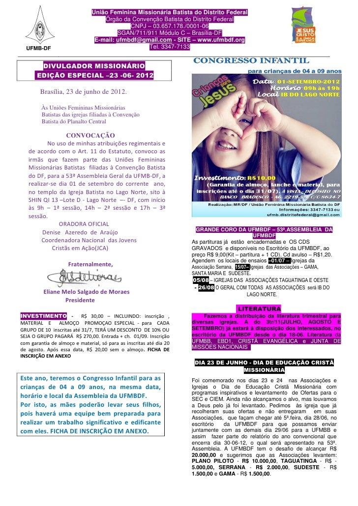 União Feminina Missionária Batista do Distrito Federal                                   Órgão da Convenção Batista do Dis...
