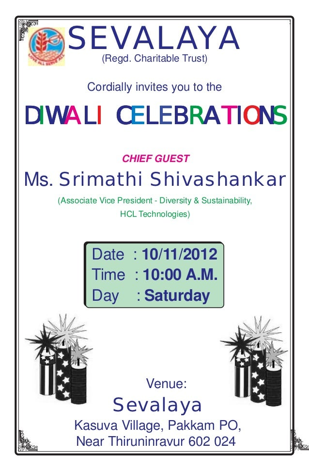 SEVALAYA  (Regd. Charitable Trust)           Cordially invites you to theDIWALI CELEBRATIONS       CE                    C...
