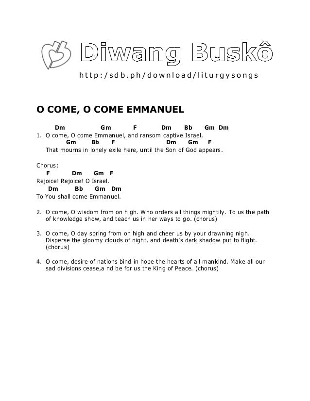 Lyric emmanuel lyrics : Diwang Busko English Songs