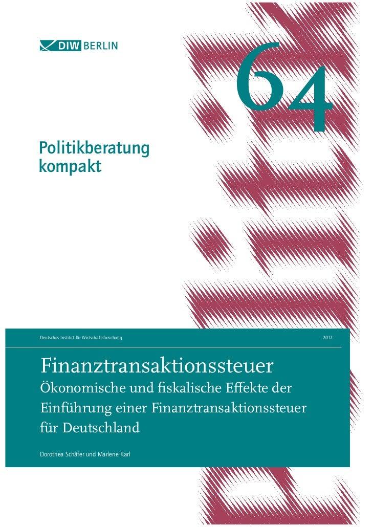 Politikberatung                                              64kompaktDeutsches Institut für Wirtschaftsforschung    2012F...