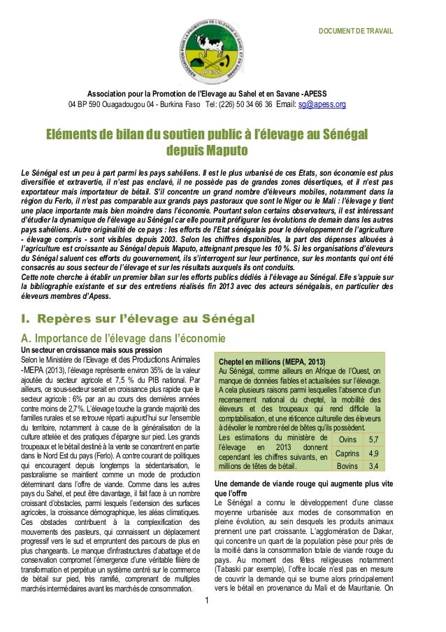 DOCUMENT DE TRAVAIL 1 Association pour la Promotion de l'Elevage au Sahel et en Savane -APESS 04 BP 590 Ouagadougou 04 - B...