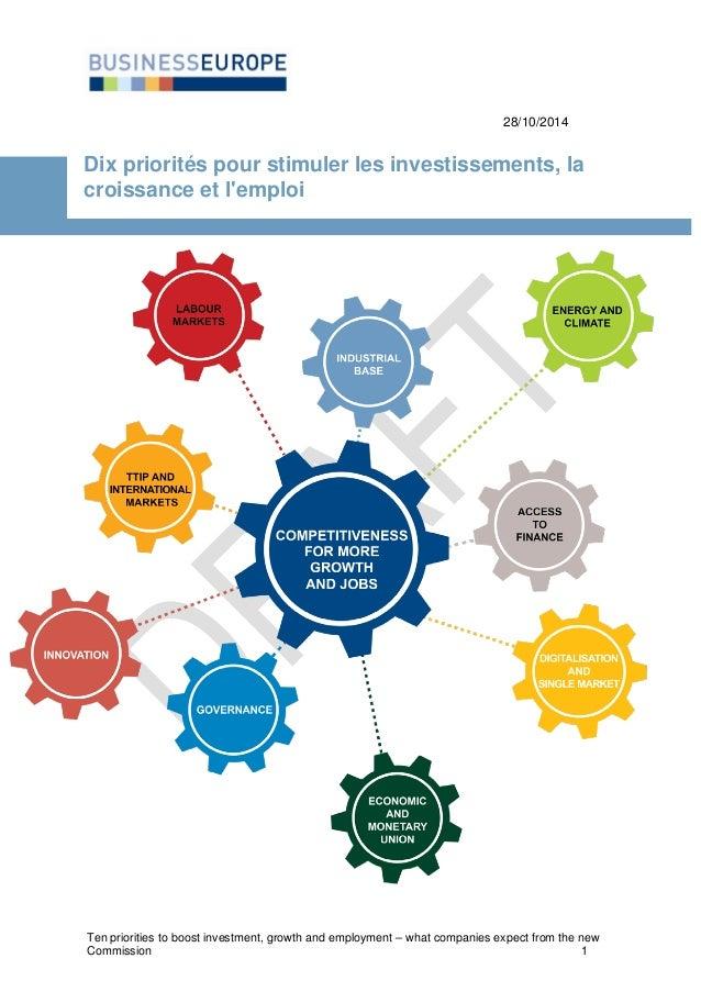 28/10/2014  Dix priorités pour stimuler les investissements, la croissance et l'emploi  Ten priorities to boost investment...