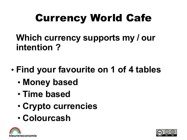 Currency World Cafe Which currency supports my / our intention ? ● Find your favourite on 1 of 4 tables ● Money based ● Ti...