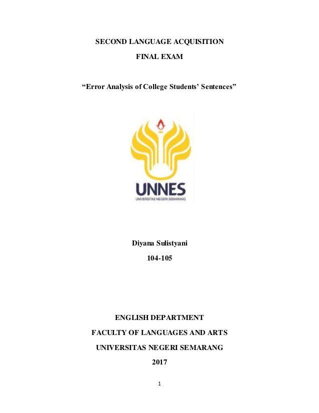Error Analysis of College Students' Sentences (SLA Final Exam)