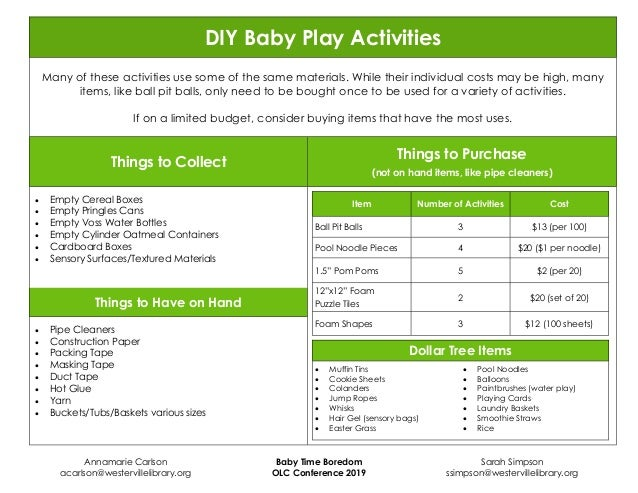 DIY Baby Play Activities Many of these activities use some of the same materials. While their individual costs may be high...