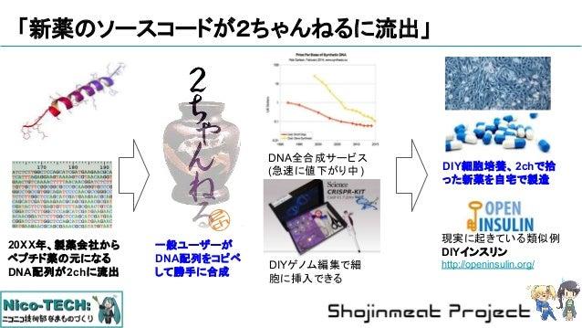 「新薬のソースコードが2ちゃんねるに流出」 20XX年、製薬会社から ペプチド薬の元になる DNA配列が2chに流出 DIYゲノム編集で細 胞に挿入できる 現実に起きている類似例 DIYインスリン http://openinsulin.org/...