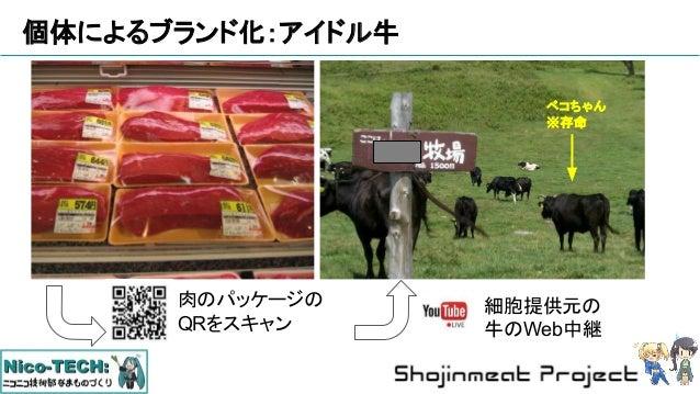 個体によるブランド化:アイドル牛 ベコちゃん ※存命 肉のパッケージの QRをスキャン 細胞提供元の 牛のWeb中継 ベコちゃん ※存命