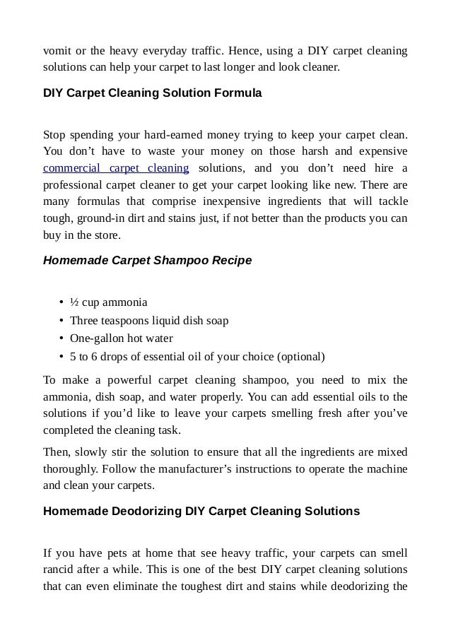 Diy Carpet Cleaning Solutions To Restore Carpet Quality At Home