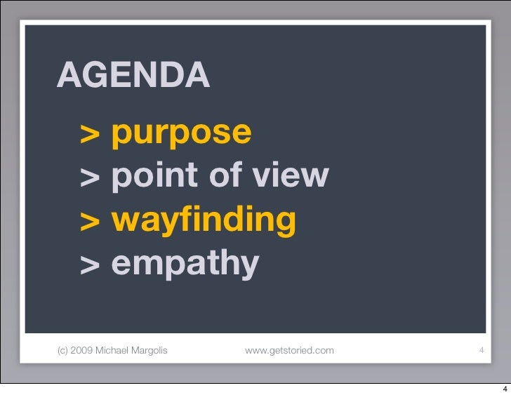 AGENDA      > purpose      > point of view      > wayfinding      > empathy  (c) 2009 Michael Margolis   www.getstoried.com...