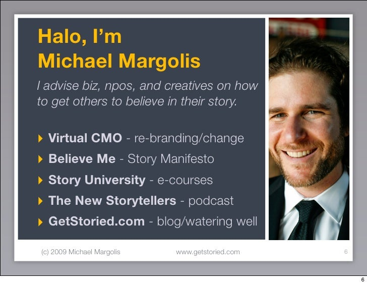 Halo, I'm Michael Margolis I advise biz, npos, and creatives on how to get others to believe in their story.  ‣ Virtual CM...