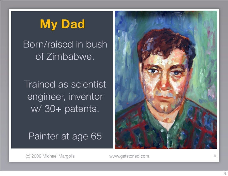 My Dad Born/raised in bush   of Zimbabwe.  Trained as scientist  engineer, inventor   w/ 30+ patents.   Painter at age 65 ...