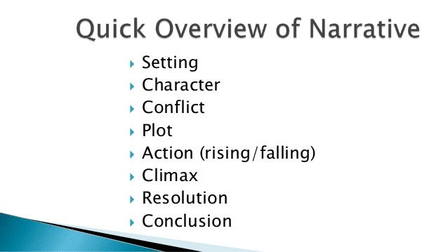    Setting   Character   Conflict   Plot   Action (rising/falling)   Climax   Resolution   Conclusion