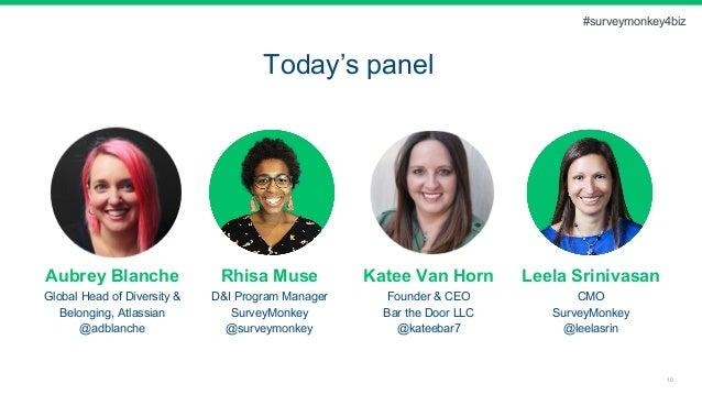 10 Today's panel Aubrey Blanche Global Head of Diversity & Belonging, Atlassian @adblanche Rhisa Muse D&I Program Manager ...