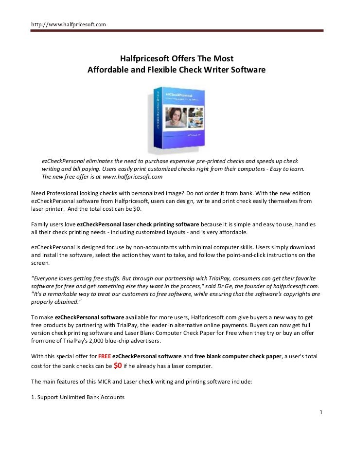 Speed Up Check Writing And Cut Cost New Check Writer Software Releas