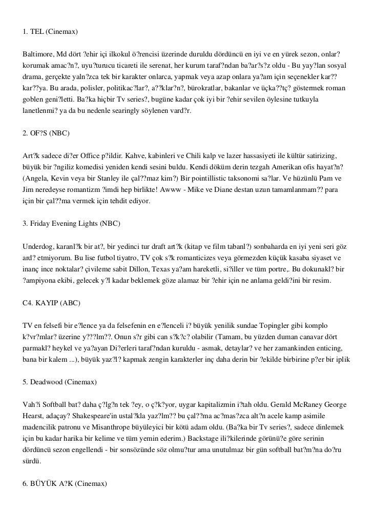1. TEL (Cinemax)Baltimore, Md dört ?ehir içi ilkokul ö?rencisi üzerinde duruldu dördüncü en iyi ve en yürek sezon, onlar?k...