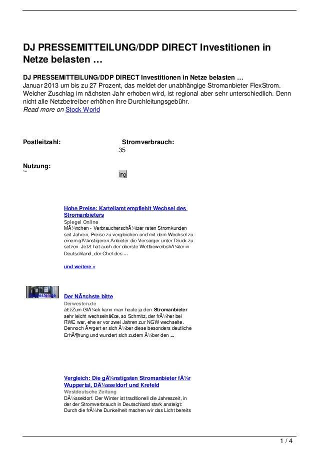 DJ PRESSEMITTEILUNG/DDP DIRECT Investitionen inNetze belasten …DJ PRESSEMITTEILUNG/DDP DIRECT Investitionen in Netze belas...