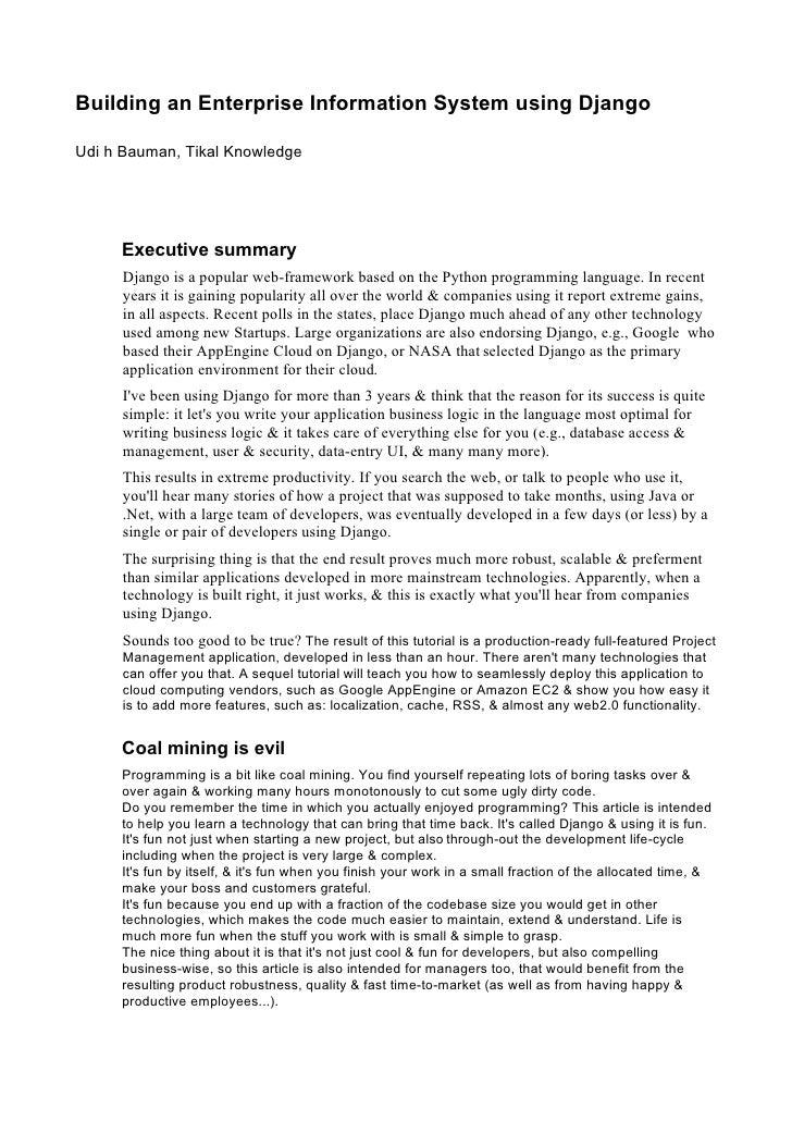 Building an Enterprise Information System using Django  Udi h Bauman, Tikal Knowledge          Executive summary       Dja...