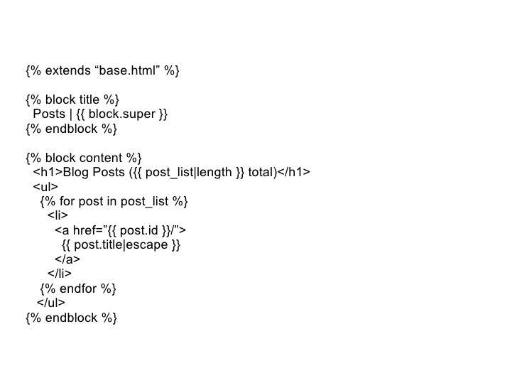 """{% extends """"base.html"""" %} {% block title %} Posts   {{ block.super }} {% endblock %} {% block content %} <h1>Blog Posts ({..."""