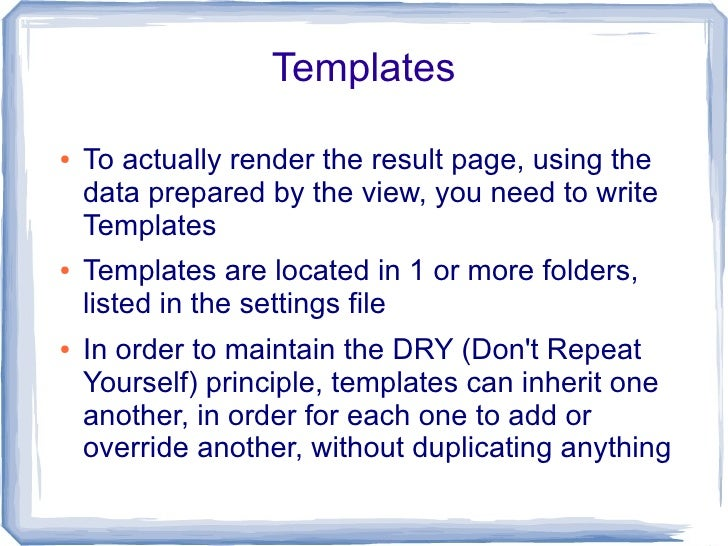 Unit Testing  ●   There are several ways to prepare unit tests     for your Django code, in order to be able to     monito...