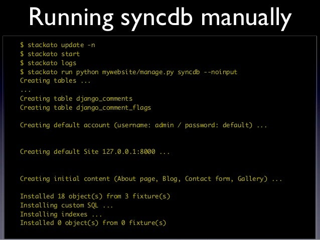 Handling static assets$ stackato run python mywebsite/manage.py collectstatic --noinput...Copying /app/python/lib/python2....