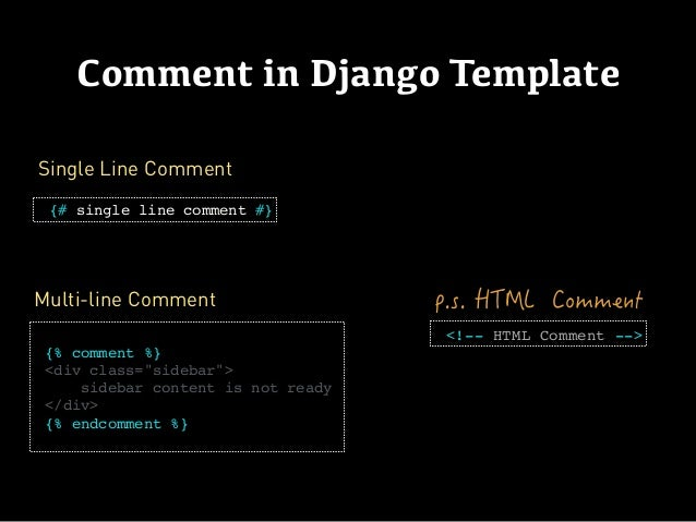 Django templates for Django template comment