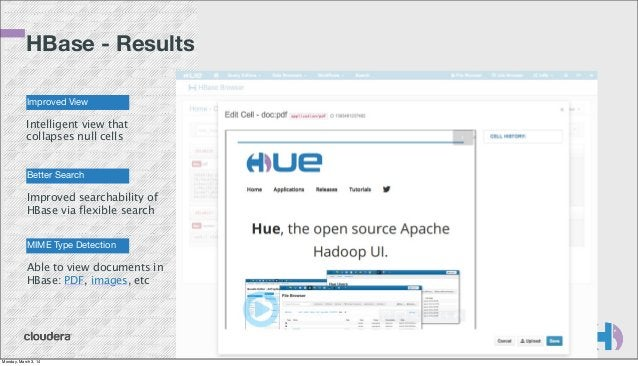 HBase - Results Improved View  Intelligent view that collapses null cells  Better Search  Improved searchability of HBase ...